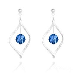 Boucles d'Oreilles Torsade en Argent et Cristal 8MM Capri Blue