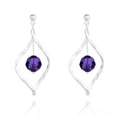 Boucles d'Oreilles Torsade en Argent et Cristal 8MM Purple Velvet