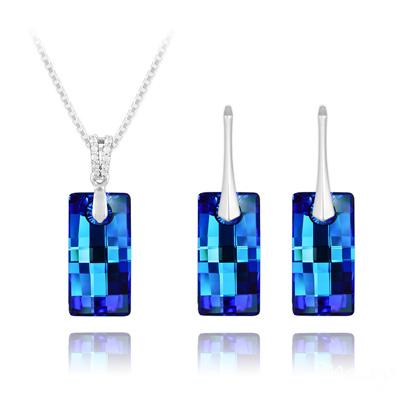 Parure en Cristal et Argent Parure Urban 20mm en Argent et Cristal Bleu Bermude