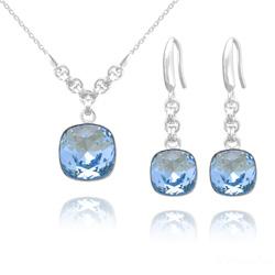 Parure en Cristal et Argent Parure Cushion Cut 10mm/12mm en Argent et Cristal Bleu