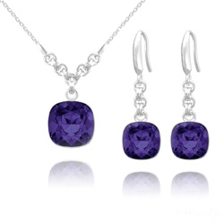 Parure Cushion Cut 10mm/12mm en Argent et Cristal Purple Velvet