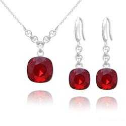 Parure en Cristal et Argent Parure Cushion Cut 10mm/12mm en Argent et Cristal Rouge Light Siam