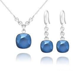 Parure en Cristal et Argent Parure Cushion Cut 10mm/12mm en Argent et Cristal Royal Blue