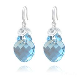 Boucles d'Oreilles en Cristal et Argent Boucles d'Oreilles Twist 18mm en Argent et Cristal Bleu