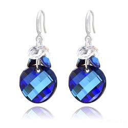 Boucles d'Oreilles Twist 18mm en Argent et Cristal Bleu Bermude