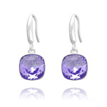 Grossiste Boucles d'Oreilles Cushion Cut Light 10mm En Argent et Cristal Tanzanite