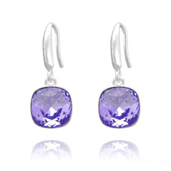 Boucles d'Oreilles Cushion Cut Light 10mm En Argent et Cristal Tanzanite