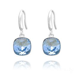 Boucles d'Oreilles Cushion Cut Light 10mm En Argent et Cristal Bleu