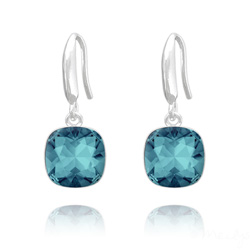 Boucles d'Oreilles Cushion Cut Light 10mm En Argent et Cristal Indicolite