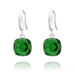 Grossiste Boucles d'Oreilles Cushion Cut Light 10mm En Argent et Cristal Dark Moss Green