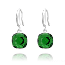 Boucles d'Oreilles Cushion Cut Light 10mm En Argent et Cristal Dark Moss Green