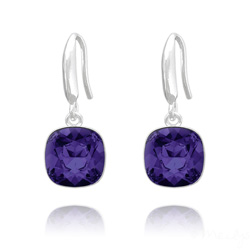 Boucles d'Oreilles Cushion Cut Light 10mm En Argent et Cristal Purple Velvet