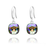 Grossiste Boucles d'Oreilles Cushion Cut Light 10mm En Argent et Cristal Paradise Shine