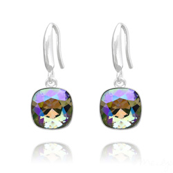 Boucles d'Oreilles Cushion Cut Light 10mm En Argent et Cristal Paradise Shine