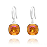 Grossiste Boucles d'Oreilles Cushion Cut Light 10mm En Argent et Cristal Astral Pink