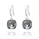 Grossiste Boucles d'Oreilles Cushion Cut Light 10mm En Argent et Cristal Black Diamond