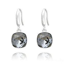 Boucles d'Oreilles Cushion Cut Light 10mm En Argent et Cristal Black Diamond