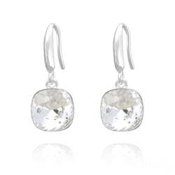 Boucles d'Oreilles Cushion Cut Light 10mm En Argent et Cristal Blanc