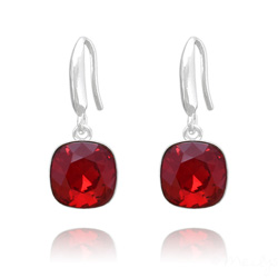 Boucles d'Oreilles Cushion Cut Light 10mm En Argent et Cristal Rouge Light Siam