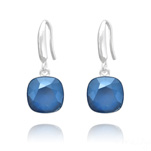 Grossiste Boucles d'Oreilles Cushion Cut Light 10mm En Argent et Cristal Royal Blue