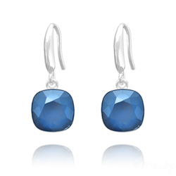 Boucles d'Oreilles Cushion Cut Light 10mm En Argent et Cristal Royal Blue