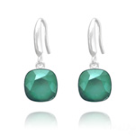 Grossiste Boucles d'Oreilles Cushion Cut Light 10mm En Argent et Cristal Royal Green