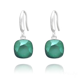 Boucles d'Oreilles Cushion Cut Light 10mm En Argent et Cristal Royal Green