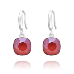 Boucles d'Oreilles Cushion Cut Light 10mm En Argent et Cristal Royal Red