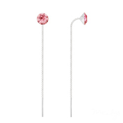 Chaînes d'Oreilles Xirius 6mm en Argent et Cristal Light Rose