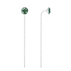 Chaînes d'Oreilles Xirius 6mm en Argent et Cristal Royal Green