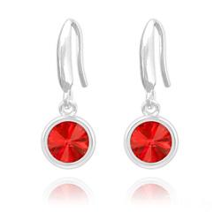 Boucles d'Oreilles Rivoli 6mm en Argent et Cristal Rouge Light Siam