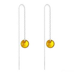 Boucles d'Oreilles en Cristal et Argent Chaînes d'Oreilles Rivoli 8mm en Argent et Cristal Sun Flower