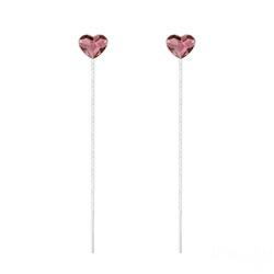 Chaînes d'Oreilles Coeur 6mm en Argent et Cristal Antique Pink