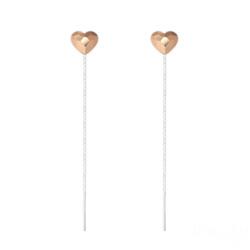 Chaînes d'Oreilles Coeur 6mm en Argent et Cristal Rose Gold