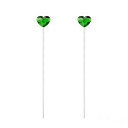 Chaînes d'Oreilles Coeur 6mm en Argent et Cristal Dark Moss Green