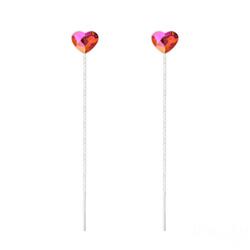 Chaînes d'Oreilles Coeur 6mm en Argent et Cristal Astral Pink