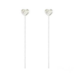 Chaînes d'Oreilles Coeur 6mm en Argent et Cristal Blanc