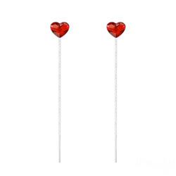 Chaînes d'Oreilles Coeur 6mm en Argent et Cristal Rouge Light Siam