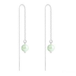 Boucles d'Oreilles en Cristal et Argent Chaînes d'Oreilles Perles 6mm en Argent et Cristal Nacré Pastel Green