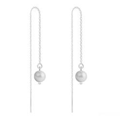 Boucles d'Oreilles en Cristal et Argent Chaînes d'Oreilles Perles 6mm en Argent et Cristal Nacré Pastel Grey