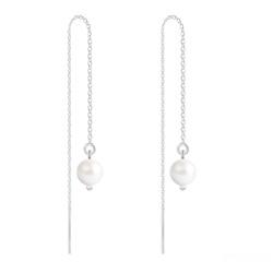 Boucles d'Oreilles en Cristal et Argent Chaînes d'Oreilles Perles 6mm en Argent et Cristal Nacré Ivory