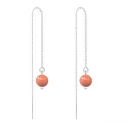 Boucles d'Oreilles en Cristal et Argent Chaînes d'Oreilles Perles 6mm en Argent et Cristal Nacré Coral