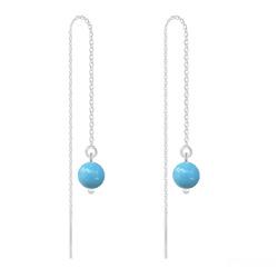 Boucles d'Oreilles en Cristal et Argent Chaînes d'Oreilles Perles 6mm en Argent et Cristal Nacré Turquoise