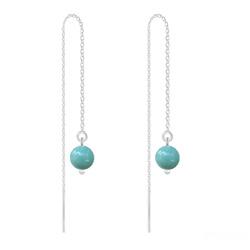 Boucles d'Oreilles en Cristal et Argent Chaînes d'Oreilles Perles 6mm en Argent et Cristal Nacré Jade