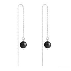 Boucles d'Oreilles en Cristal et Argent Chaînes d'Oreilles Perles 6mm en Argent et Cristal Nacré Mystic Black