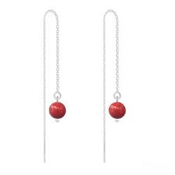 Boucles d'Oreilles en Cristal et Argent Chaînes d'Oreilles Perles 6mm en Argent et Cristal Nacré Red Coral