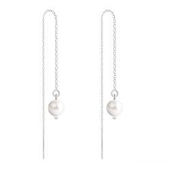 Boucles d'Oreilles en Cristal et Argent Chaînes d'Oreilles Perles 6mm en Argent et Cristal Nacré White Pearl