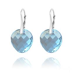 Boucles d'Oreilles en Cristal et Argent Boucles d'Oreilles Twist v2 18MM en Argent et Cristal  Bleu
