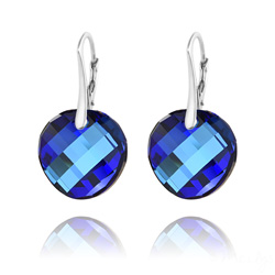 Boucles d'Oreilles en Cristal et Argent Boucles d'Oreilles Twist v2 18MM en Argent et Cristal  Bleu Bermude