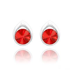 Clous d'Oreilles Goutte Rivoli 8MM en Argent et Cristal Rouge Light Siam